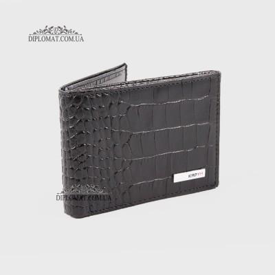Зажим для денег с отделением для кредитных карт на кнопке KARYA 0931 53 Черный Крокодил
