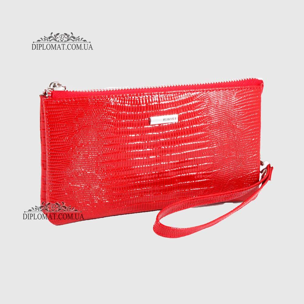 Кошелек Клатч кожаный женский на молнии  KARYA 1075 074 Лаковый Красный