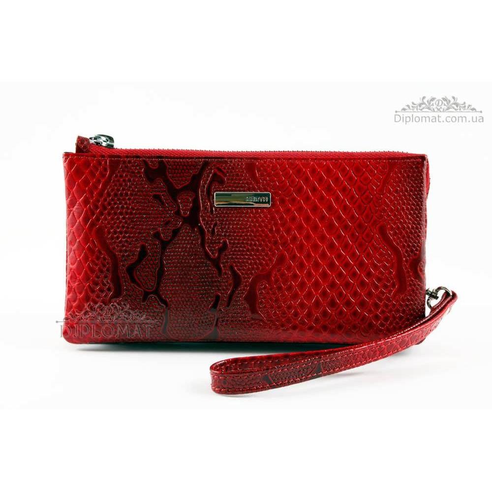 Кошелек Клатч кожаный женский на молнии  KARYA 1075 019 Красный Лак
