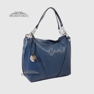 Сумка Женская Кожаная Ручка на плечо Кожаная с цепочкой BELLINI Monteriggioni V0033 BLUE smooth