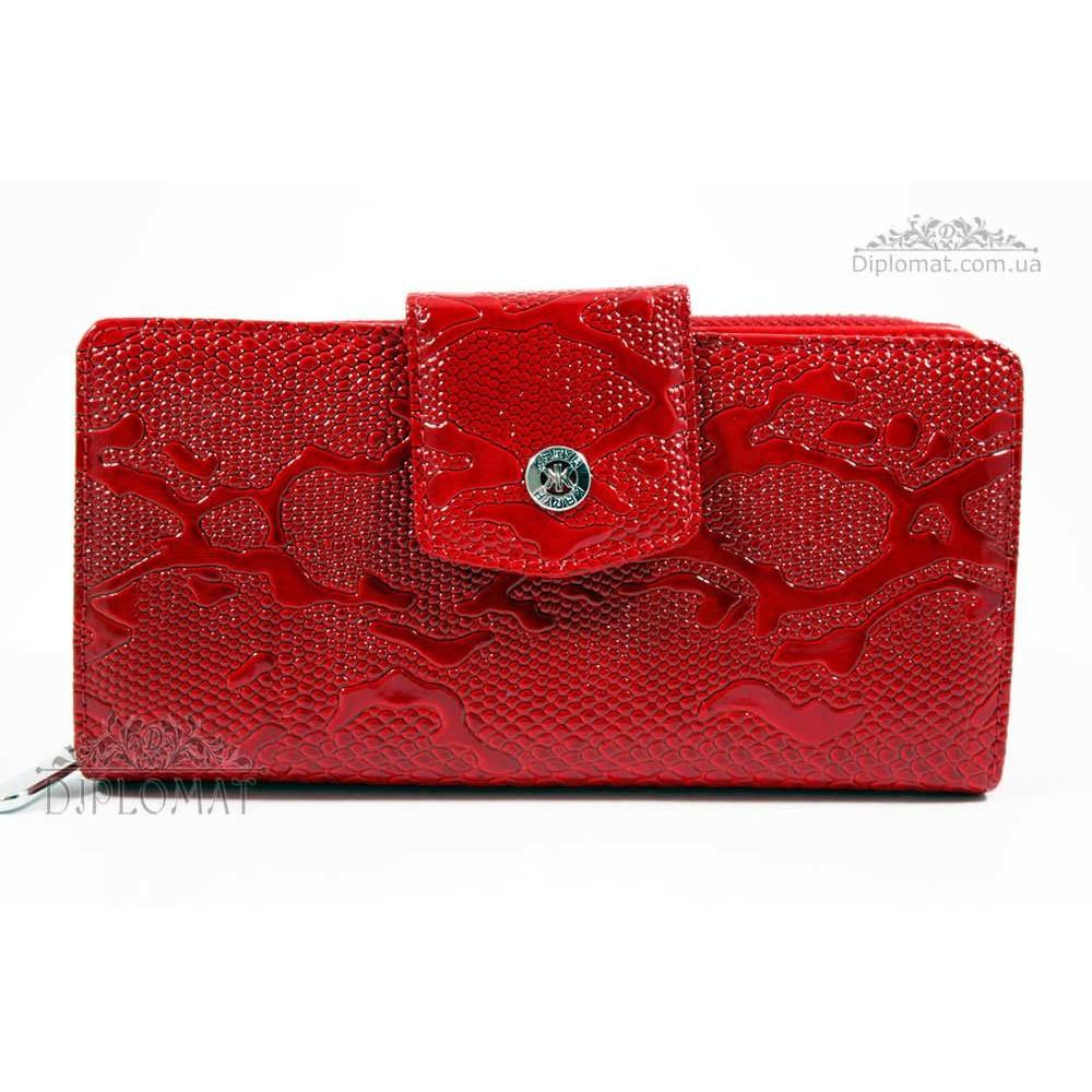 Кошелек женский кожаный с отделением для денег на молнии KARYA 1119 019 Красный Лак