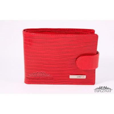 Визитница кожаная для дисконтных карт KARYA 054 074 Лаковый Красный