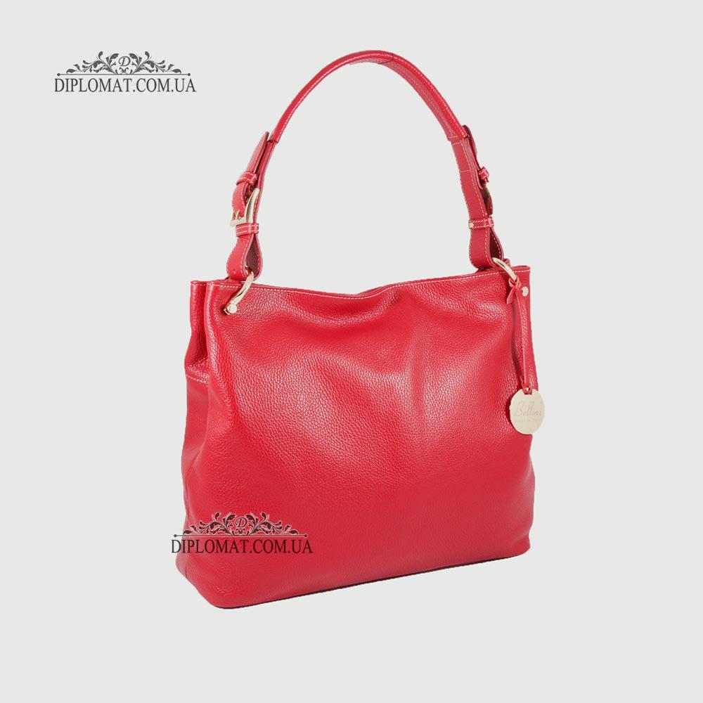 Сумка Женская На плечо Кожаная BELLINI Brolio 8696  RED floater Красный/Розовый