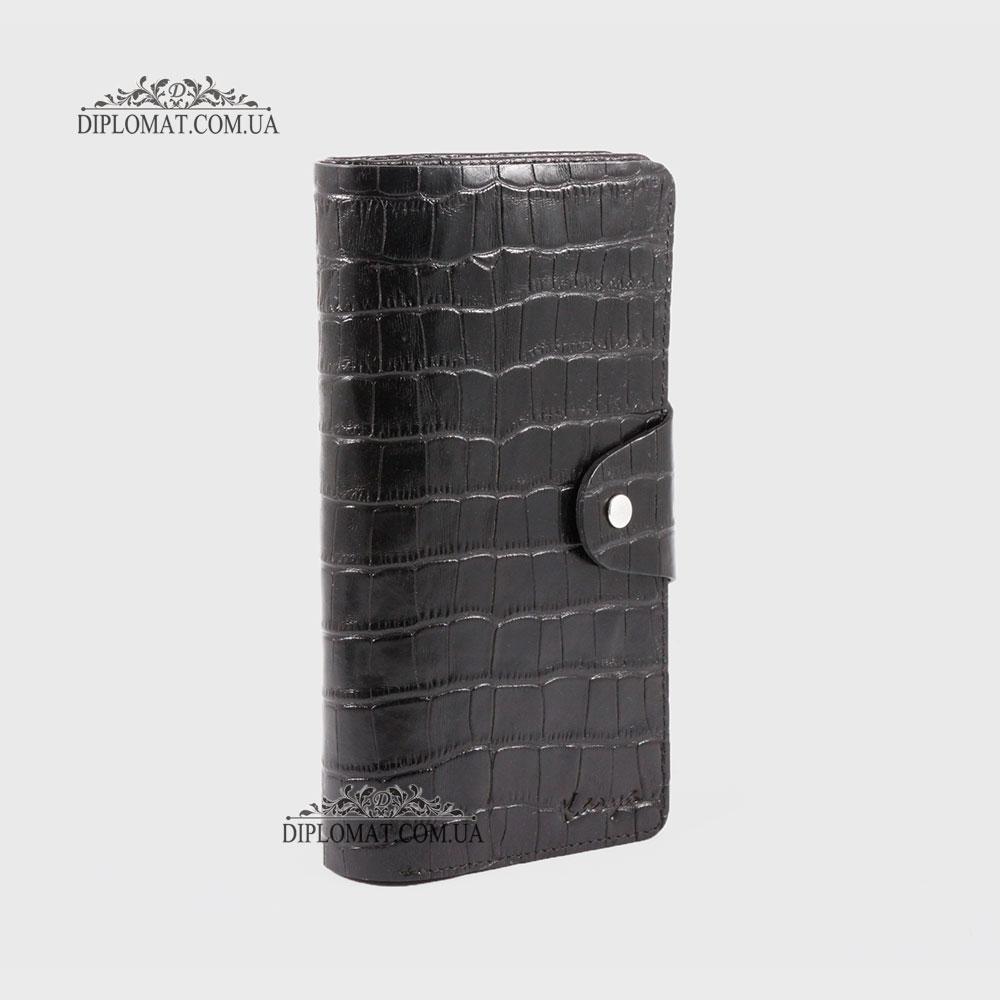 Тревел кейс KARYA 1122 на кнопке на 20 кредитных карт 53 Черный Крокодил