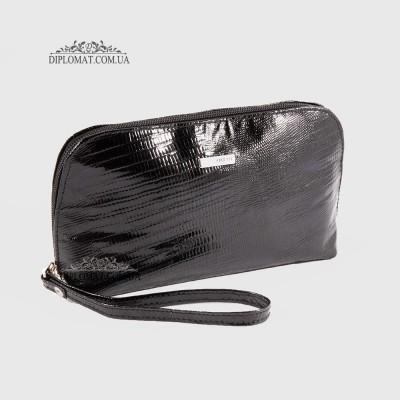 Косметичка женская кожаная с ручкой KARYA 2020 073 Черный Лак