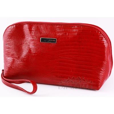 Косметичка женская кожаная с ручкой KARYA 2020 074 Лаковый Красный