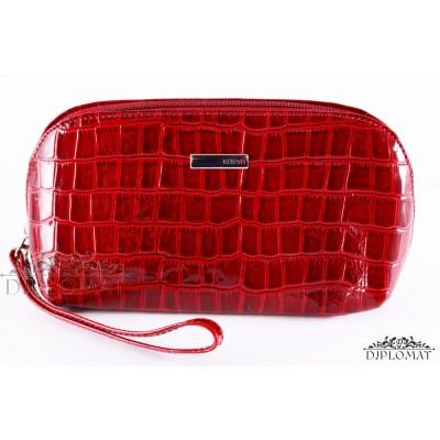 Косметичка женская кожаная с ручкой KARYA 2020 08 Красный
