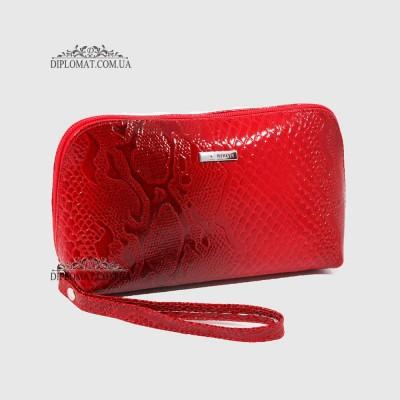 Косметичка женская кожаная с ручкой KARYA 2020 019 Красный Лак