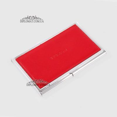 Визитница TERGAN 0195  для своих визиток Металлическая с кожаной вставкой KIRMIZI RUSTIC Красный