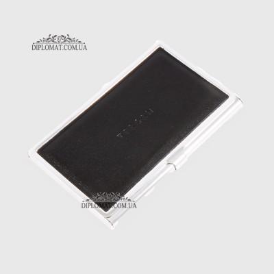 Визитница TERGAN 0195  для своих визиток Металлическая с кожаной вставкой SIYAH RUSTIC Черный