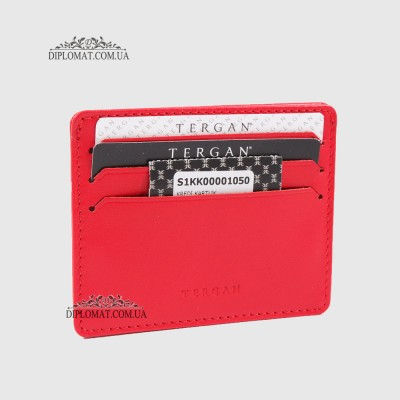Картхолдер TERGAN 1050 Кожаный (Кредитница)KIRMIZI RUSTIC Красный