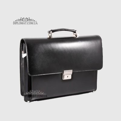 Портфель кожаный мужской на два отделения с планшетом KARYA 0144 1 Черный Гладкий