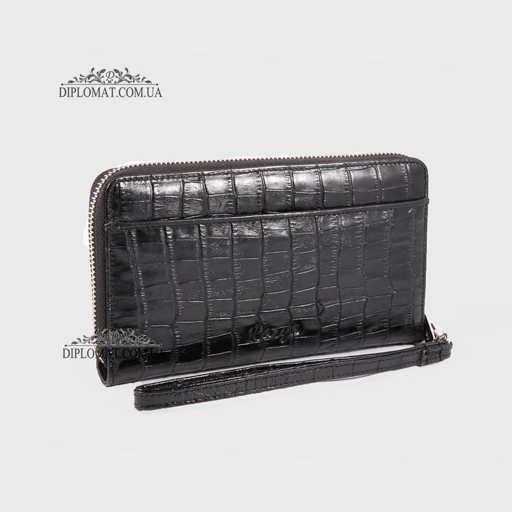 Кошелек Клатч KARYA 0705 на три отделения для денег 53 Черный Крокодил