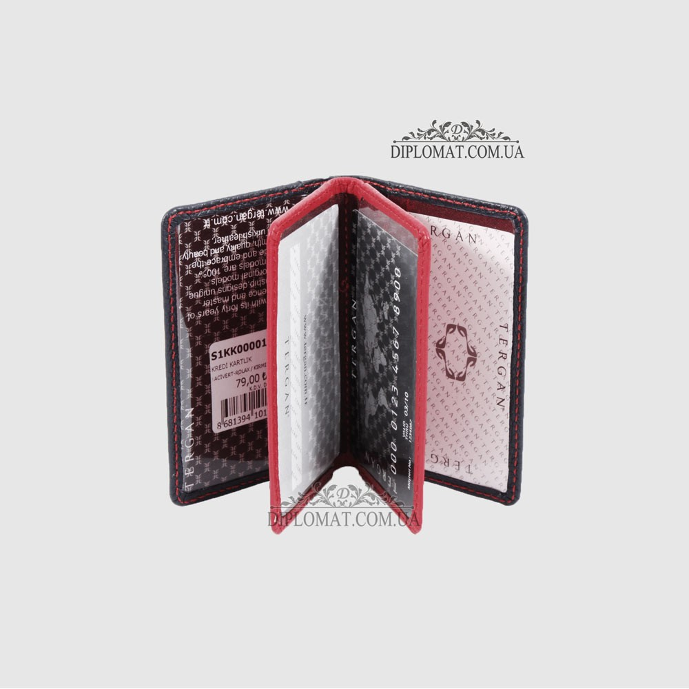 Обложка для ID паспорта и Европрав TERGAN 1601  LACIVERT ROLAX / KIRMIZI ROLAX Синий с красным