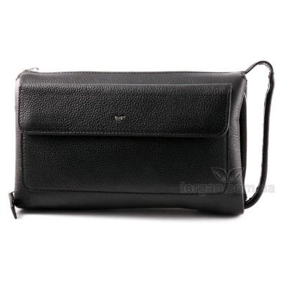 Клатч мужской TERGAN 21138 Кожаный с металлической молнией и с ручкой сбокуSIYAH FLOATER Черный