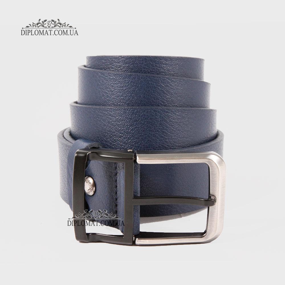 Ремень RINO 6711145194670 Джинсовый Кожаный Темно Синий STD