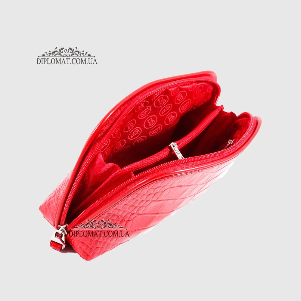 f68809bb5775 ... Косметичка женская Кожаная с карманом на молнии BUTUN B.665 006006  Красный ...