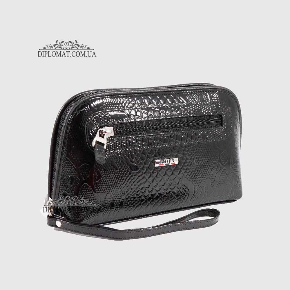 8e9b91d118e7 Косметичка женская Кожаная с карманом на молнии BUTUN B.665 008001 Черный