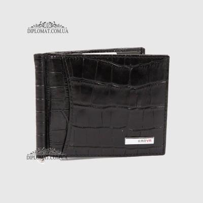 Зажим для денег с отделением для карт KARYA 045553 Черный Крокодил