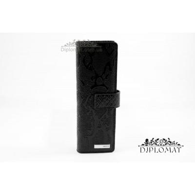 Визитница кожаная для дисконтных карт KARYA 0012 013 Лаковый Черный