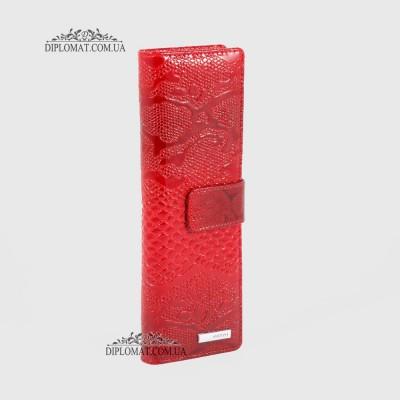 Визитница кожаная для дисконтных карт KARYA 0012 019 Красный Лак
